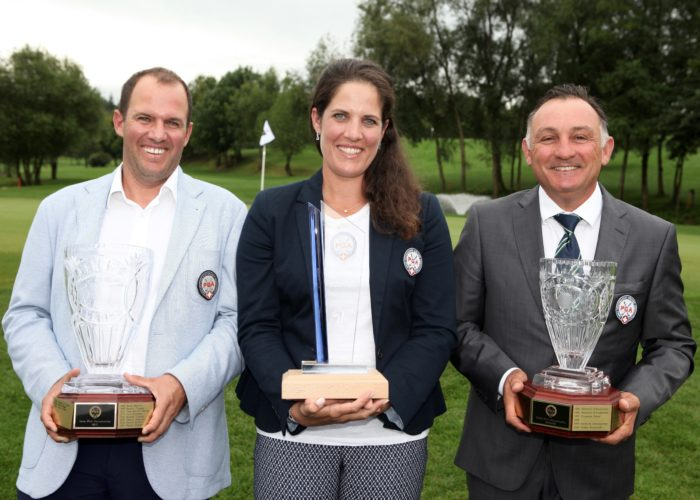 Sieger der Swiss PGA Championship 2017 Martin Rominger, Caroline Rominger und Franco Li Puma